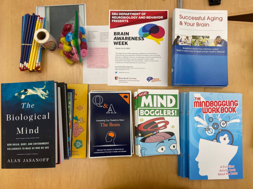 Library donations organized by Stony Brook University Department of Neurobiology & Behavior in New York.