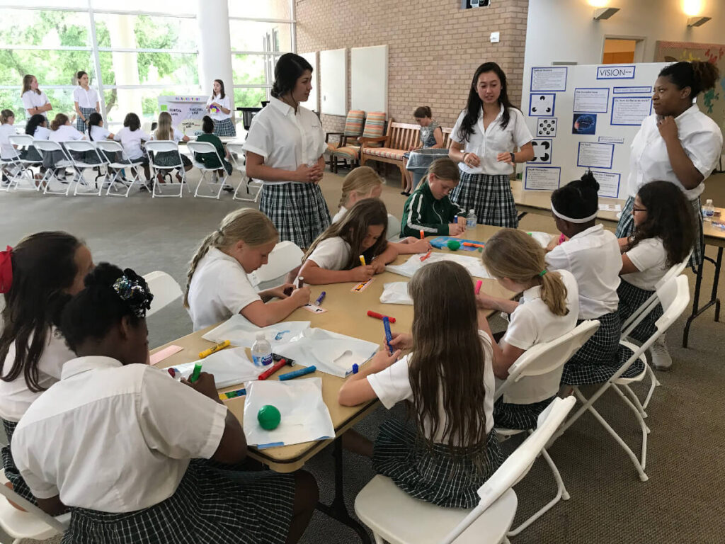 Brain activities for children at an event organized by the The Hockaday School in Dallas, Texas.