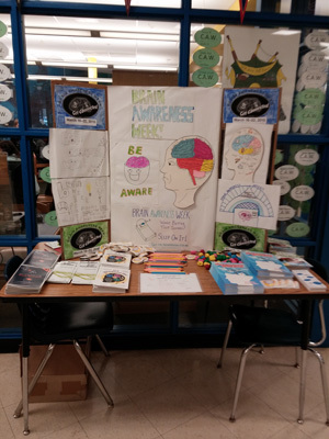 Brain Awareness Week posters and info table at Thomas McKean High School in Delaware, USA