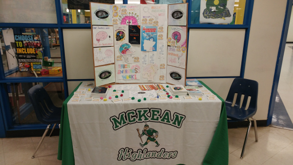 Materials at an information table at an event organized by Thomas McKean High School in Delaware