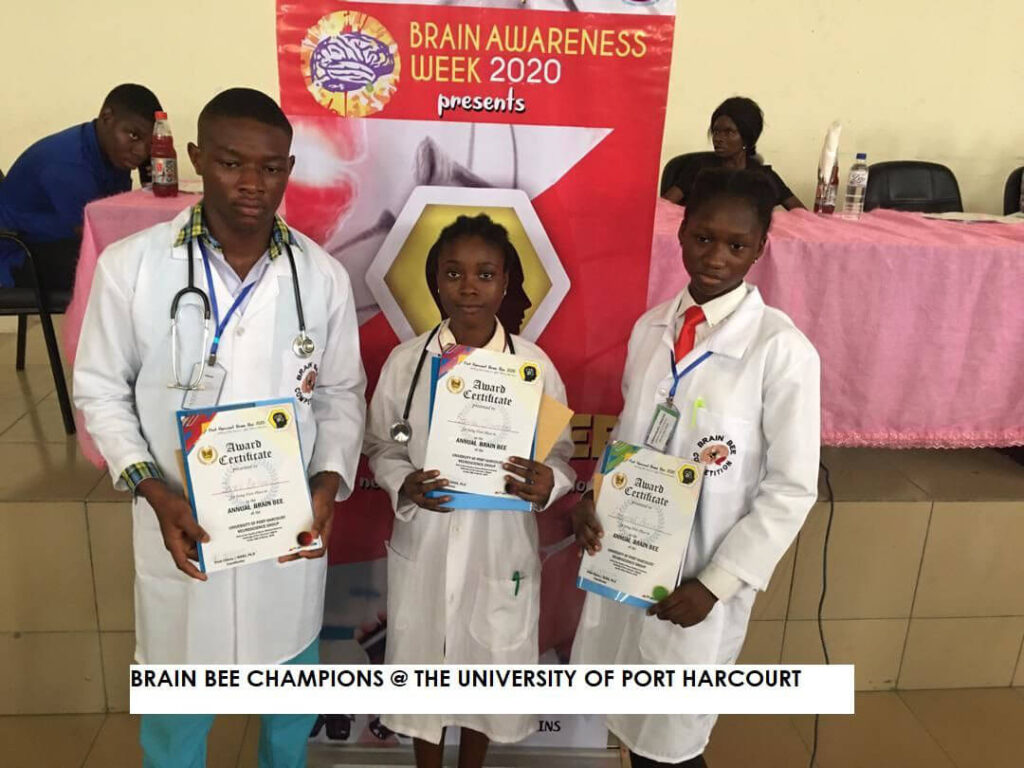 Brain Bee Champions pose for a picture at an event organized by the University of Portharcourt in Rivers States, Nigeria.