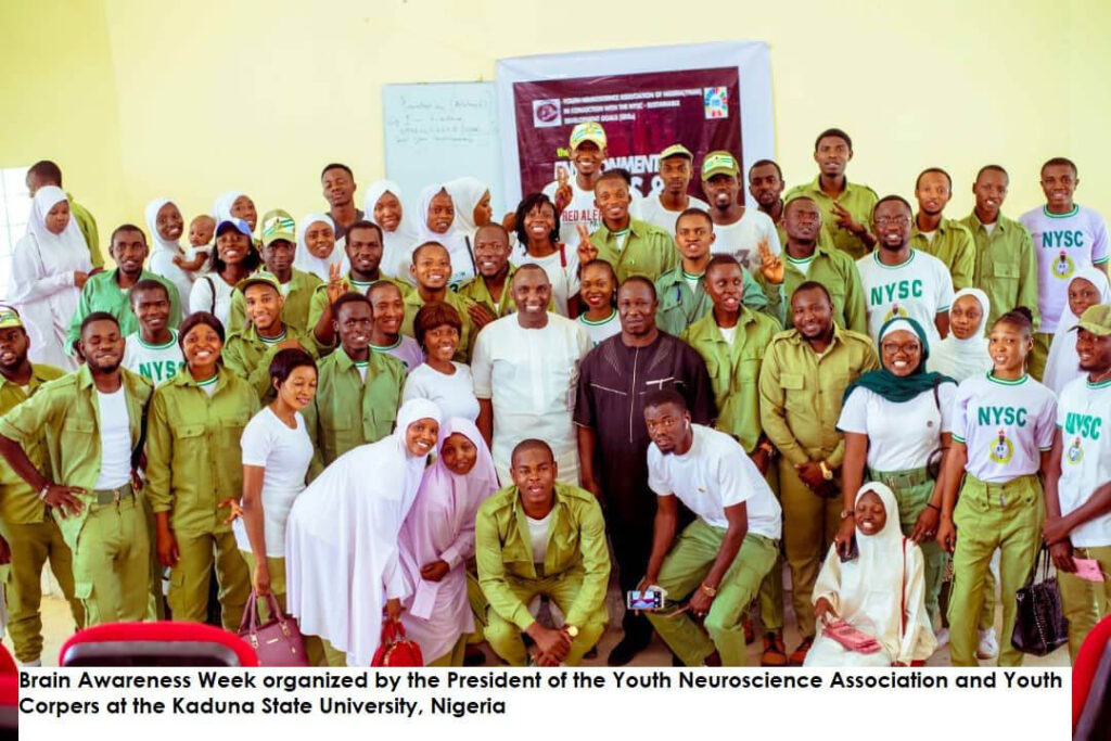 A group poses during a BAW event organized by the Youth Neuroscience Association at Kaduna State University and the University of Portharcourt in Nigeria.