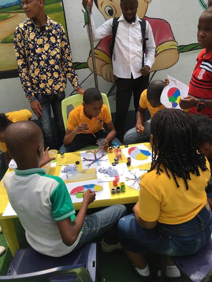 Children completing some creative brain-themed activities during an event organized by the University of Portharcourt in Nigeria.