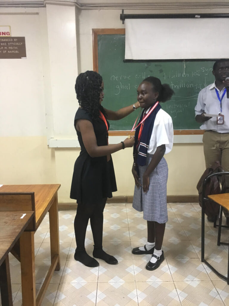 The winner of the 2019 brain competition, organized by Ubongo Brain Awareness Campaign in Kenya, Africa.