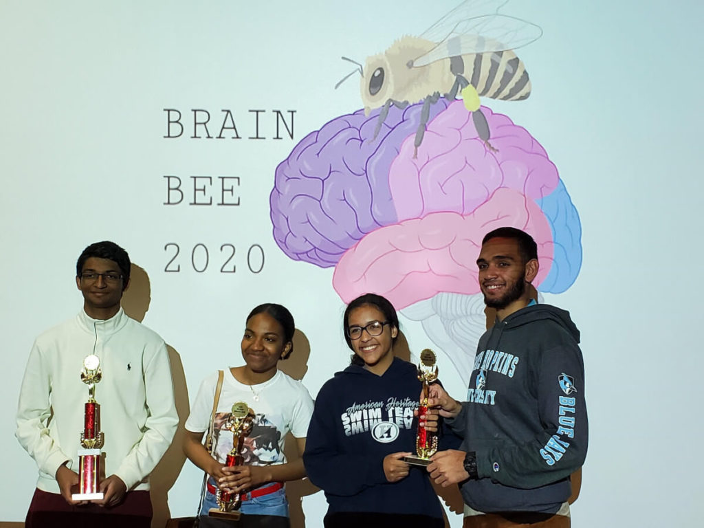 The winners of the Miami Brain Bee, organized by the University of Miami in Florida.