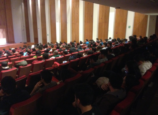 The audience at a lecture organized by Universidad Autónoma in Chile