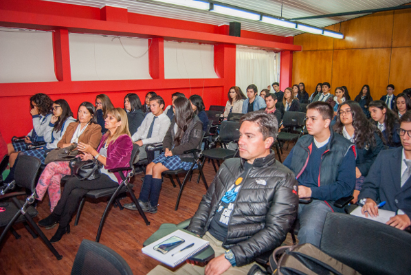 An audience organized during an event organized by the Universidad de Concepcion in Chile