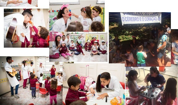 Children learn about the sensory nervous system during an event organized by Universidade Federal do Estado do Rio de Janeiro in Brazil