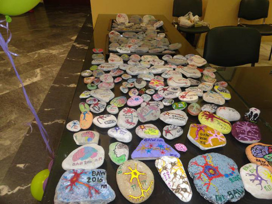 Neuron rocks decorated during the Brain The Known...Unknown event organized by University of Patras, Greece