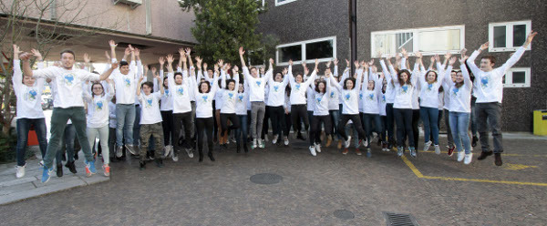Group photo mid-jump during BAW at the University of Trieste in Italy