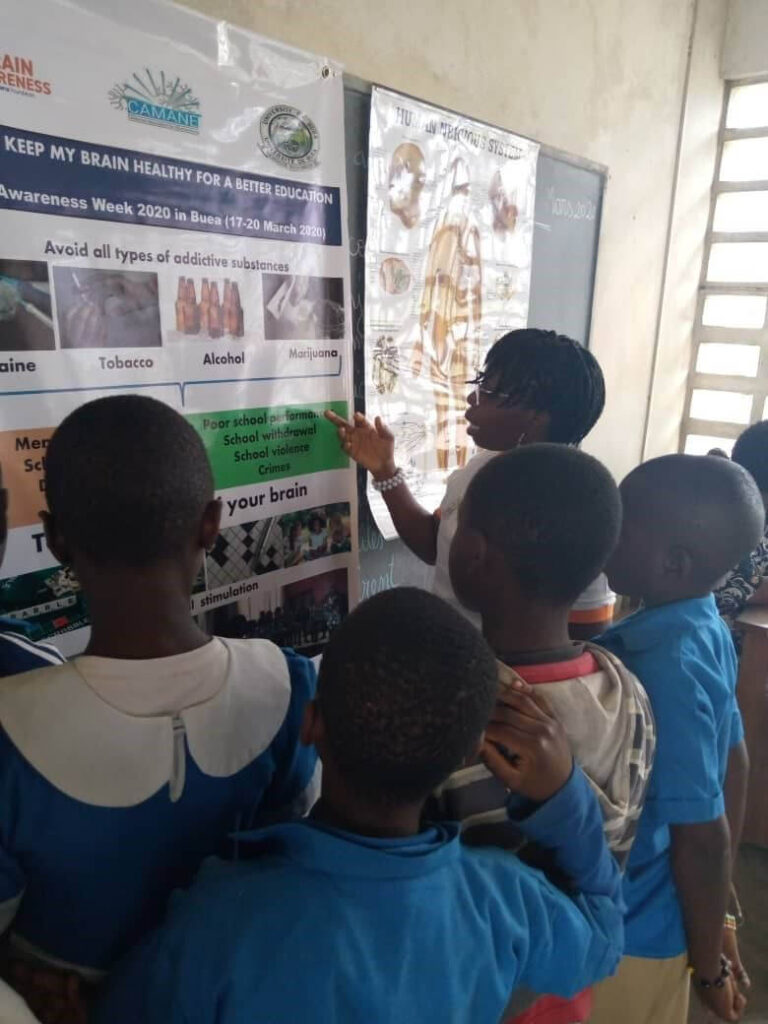 A poster session with High school children organized by the University of Buea in Cameroon.