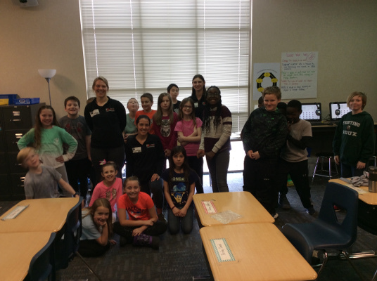 Fourth-grade students learn about the brain from physical therapy students, organized by the University of Jamestown Physical Therapy Program in North Dakota