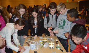 Students track Planaria movement during an event organized by the University of Washington