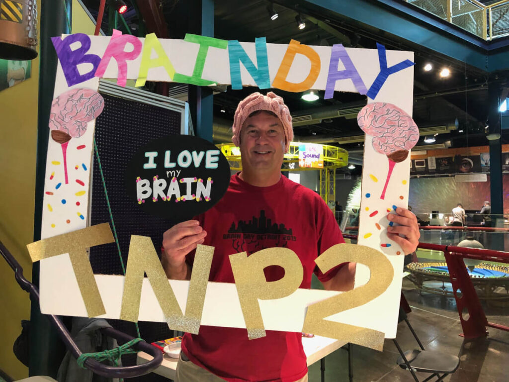 Brainy photo booth with head organizer, Tom Fischer, during Brain Day in Detroit organized by Wayne State University in Michigan.
