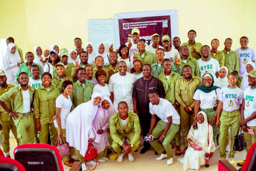 A group poses at an event organized by the University of Porthacourt and the Youth Neuroscience Organization Kaduna State in Nigeria, Africa.