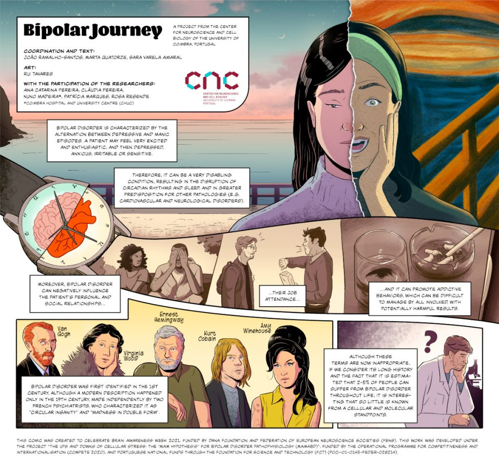 A comic on Bipolar Disorder created by CIBB Centre for Innovative Biomedicine and Biotechnology (CNC – Center for Neuroscience and Cell Biology and iCBR - Coimbra Institute for Clinical Biomedical Research) in Portugal.