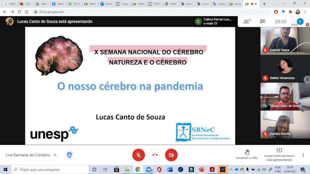 Virtual lecture organized by E.E. PEI Álvaro Fraga Moreira in Brazil.