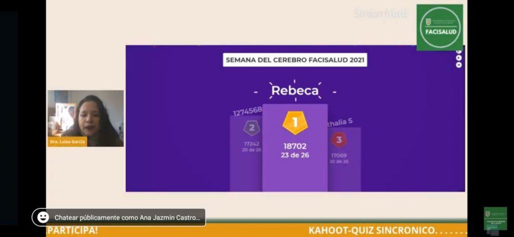 Winners of an online Kahoot quiz organized by the Facultad de Ciencias de la Salud, Universidad Autónoma de Baja California in Tijuana, Mexico.