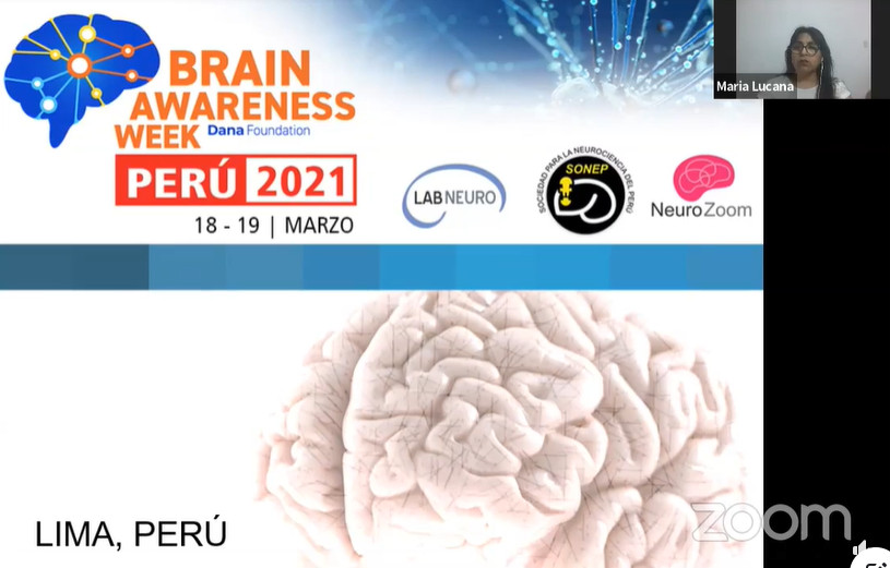 Start of a Zoom presentation of Semana Mundial del Cerebro, organized  by the Laboratory of Neuroscience and Behavior (LABNEURO) in Peru.