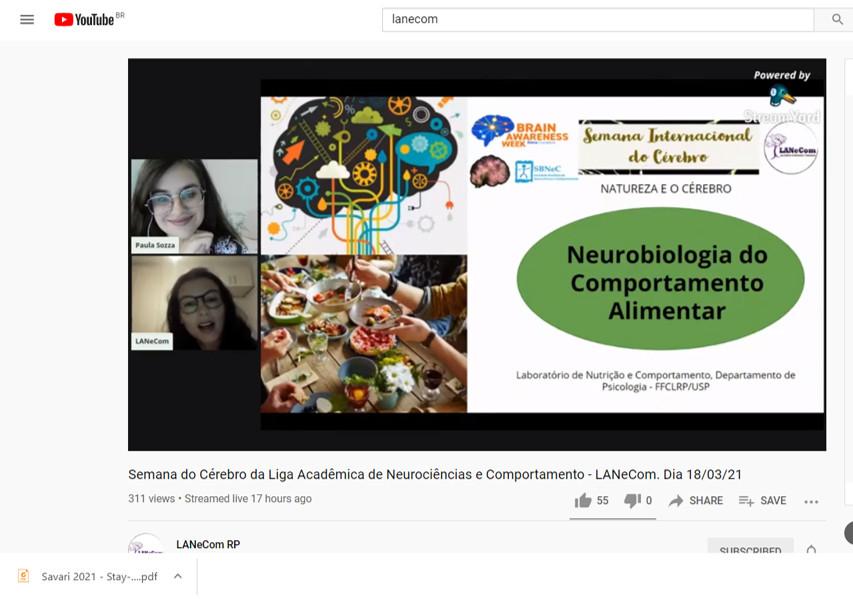 Online presentation on healthy eating and tips for promoting healthy and sustainable eating organized by the Liga Acadêmica de Neurociências e Comportamento da USP de Ribeirão Preto LANeCom in Brazil.