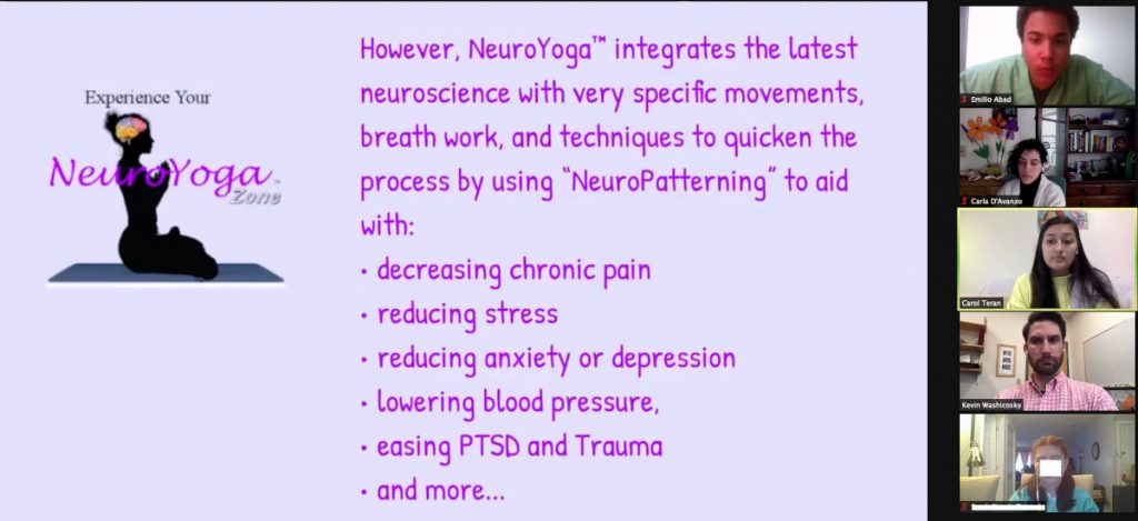 NeuroYoga event organized by Mass General Research Institute in Massachusetts, United States and Scuola Media Statale Enrico de Nicola in Italy.