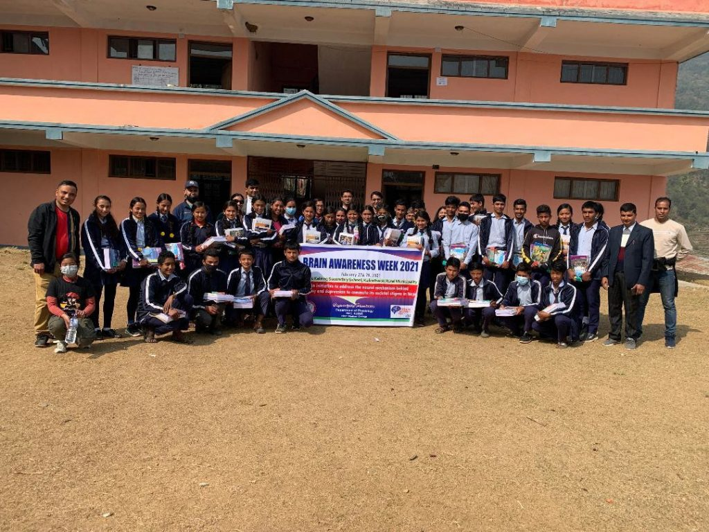 Participants pose for a photo at an event organized for high school students by the Nepal Medical College/Physiological Society of Nepal.