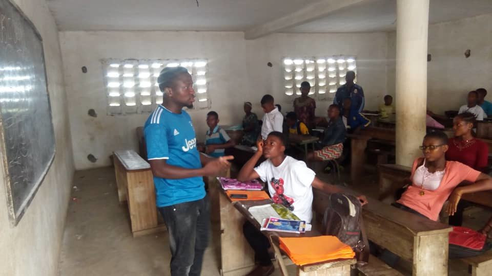 Educating students on the danger of smoking and its effect on the brain organized by GoGreen Technologies in Cameroon.