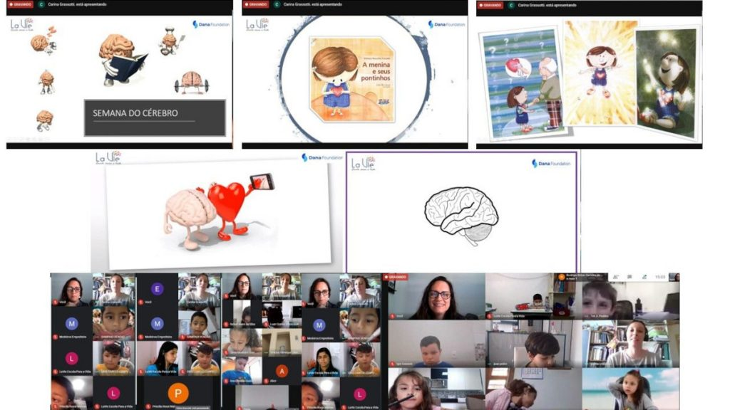 Virtual storytelling in school about emotions organized by Instituto Conectomus in Brazil.