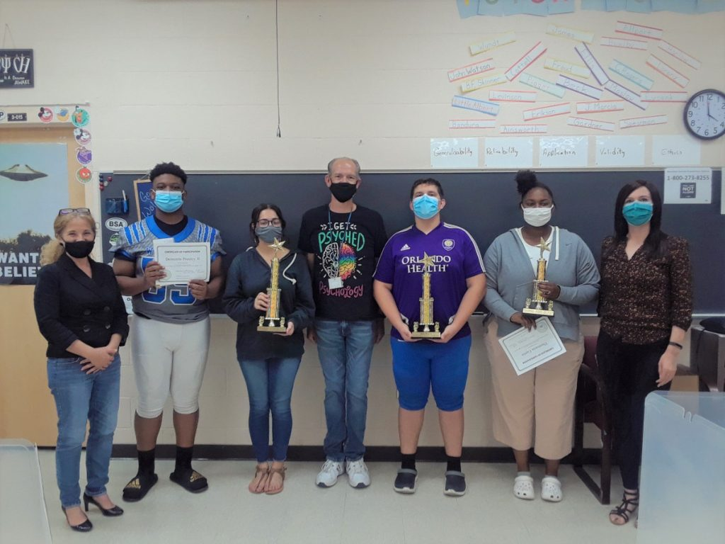 Deltona High School winners of a virtual brain bee and their teacher, organized by Stetson University in Florida.
